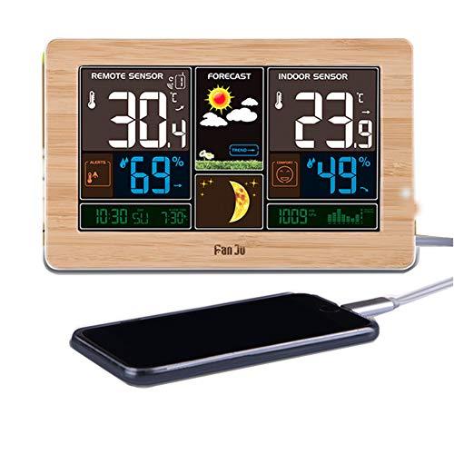 LICHUXIN Wetterstation mit USB-Digital-Wecker-Sensor displaymoon Displaygrößen und mit Frostpunkt Alarmprognosefunktion Thermometer-Wandmontage