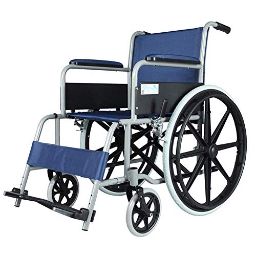 OSL Medical Lightweight Steel Frame Expedition Transporte Silla de ruedas con frenos de mano, Silla plegable es portátil, Asiento 45Cm Plegable OSL