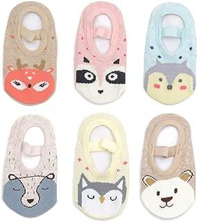 Yenzat Baby Toddler Girls Socks Non Skid Anti Slip Mary Jane Socks Grip 12-36 Months 6 Pairs
