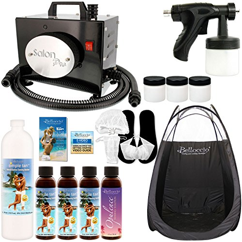 Salon Pro T200-12, 2 Stage Turbine Sunless HVLP Spray Tanning System; Pint Simple Tan 8% DHA Solution, 4 Solution Variety Pack, Tent, Acc. & Video Link