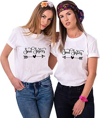 Best Friends T-Shirt Soulsisters Tshirt für Zwei Mädchen Damen Partnerlook (Weiß, Links S)
