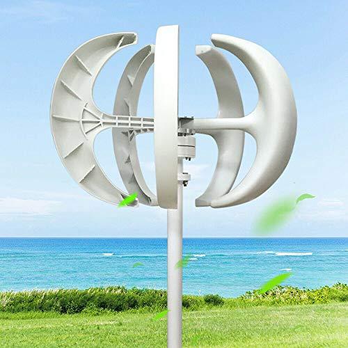 Windkraftanlage HaroldDol 600W 24V Windturbine Generator Weiß Laterne Vertikale Windgenerator 5 Blätter Windkraftanlage mit Controller