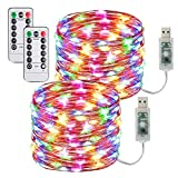 [2 Pack] USB Stringa Luci LED-10m/33FT 100led Catene Luminose 8 Modi/Filo Rame Ghirlanda Luminosa Lucine LED Decorative per Camere da Letto Giardino Casa Feste Natale Matrimonio (Multicolore)