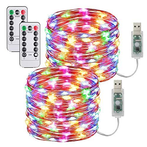 [2 Pack] Guirnaldas Luces Con enchufe USB,10m/100 LED 8 modos Luces de Hadas de 33 pies con Control Remoto y Temporizador Luces de Luciérnaga Decoración Navideña Dormitorio Fiesta Luces de Multicolor