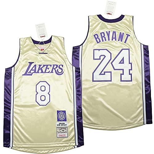 LGLE Camiseta de baloncesto para hombre, sin mangas, Lakers # 8+ 24, transpirable y resistente, de secado rápido, color amarillo, 3XL