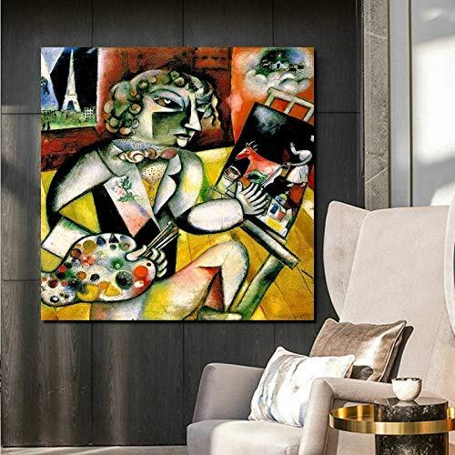 KWzEQ Famoso Pintor autorretrato Pared Arte Lienzo Sala de Estar decoración del hogar,Pintura sin Marco,40x40cm