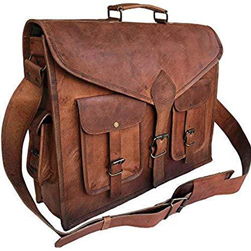 Komal's Passion Leather KPL 46 cm Rustikale Vintage Leder Messenger Bag Laptop Bag Aktentasche Umhängetasche