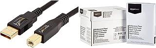 Amazon Basics Câble USB 2.0 A-mâle vers B-mâle avec connecteurs plaqué Or (1,8 m) & Papier multiusage A4 80gsm, 5x500 Feui...