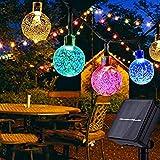 Qxmcov Guirnaldas Luces Exterior Solar, 7M Luces LED Solares para Exteriores, 50LED Bombillas Solares Exterior Jardin, 8 Modos de Luz de Cuatro Colores, Luz Terraza, Navidad, Boda, Fiestas Decoración