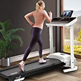 【US Fast Shipment】 Treadmills with Bluetooth Speakers &12 Preset Programs, 2.0HP Folding Electric Treadmills LCD Display, Walking Jogging Machine for Home/Gym, Low Noise 500 lbs Weight Capacity (E)