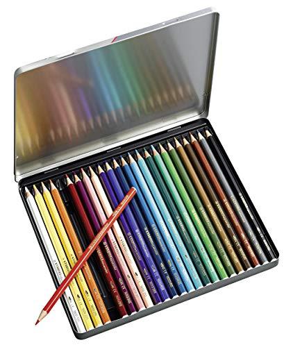 Lápiz de color acuarelable STABILO aquacolor – Caja de metal con 24 colores