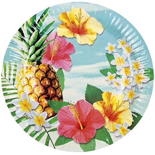 Neu: 6 Teller * Paradies * für Eine Fröhliche Mottoparty im Sommer | Gartenparty Hibiskus Strand Hawaii Paradise Motto Party Pappteller Partyteller Plates