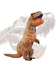 Halloween Adulto Inflable T Rex Dinosaur Partido Dinosaurio Hinchable Traje Funny Dress Brown (Puerto USB)