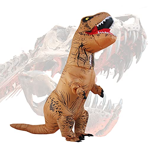 Halloween per adulti gonfiabile T Rex partito dinosauro costume divertente Dress Brown con zaino e cavo USB