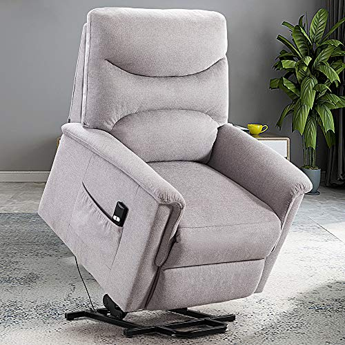 Bonzy Home Power Lift Recliner Chair for Elderly, Overstuffed Cozy Single Sofa for Living Room - Thick and Firm Padded Reclining Chair (Light Grey)