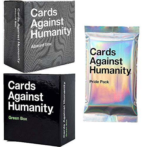 Cards Against Нumanity Cards Game Original Expansion Packs Bundle Absurd Green Box and Pride Pack