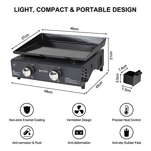 Camplux GP102B Portable 2 Burners Gas Plancha, Garden BBQ Griddle Grill 4.0kW, Outdoor Picnics, Suitable for Butane…