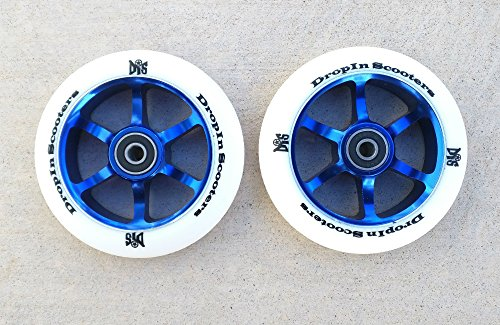 DIS 110mm White on Blue 6 spoke Metal Core Scooter Wheels (Pair - 2 wheels) with Bearings and Spacers Installed