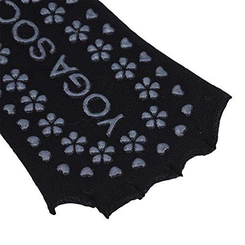 ZHDXW Calcetines de yoga antideslizantes para mujer, con puntera completa, de algodón, para yoga, prevención, calcetines para mujer, puntera completa, para yoga, ballet, color negro
