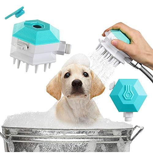 Cepillo de baño 3 en 1 para mascotas con pulverizador de ducha para perros, dispensador de champú para mascotas, cepillo para aseo de perros y masajes
