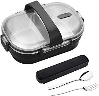 YBOBK HOME Leak Proof Bento Lunch Box with Utensils Stainless Steel Lunch Container with Dividers Reusable Meal Prep Conta...