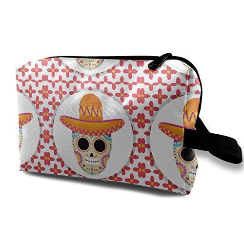 Masque de Mort de crâne Mexicain avec Chapeau de Mariachi Portable Sacs de cosmétiques de Voyage Organisateur de Maquillage Sacs Grande capacité Organisateur de Toilette Cas Sac de Voyage