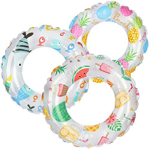 com-four® 3X Schwimmreifen - Kleiner Schwimmring für Badespaß - Kinderschwimmreifen mit verschiedenen Motiven [Auswahl variiert] (03 Stück - Ø 51cm Fische/Beach/Früchte)