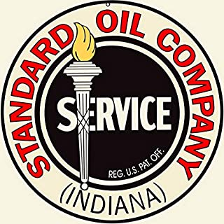 Etra Large Indiana Standard Oil Sign Vintage Garage Art Signs Gas Station Sign Round 12X12 Inch
