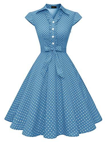 WedTrend Damen 50er Vintage Retro Rockabilly Swing Kleid Kurzer Ärmel Cocktailkleider WTP10007BlueWhiteDotS