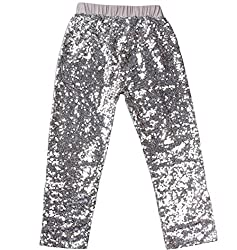 Silver Sequin Leggings Tights Cotton Sparkle on The Front