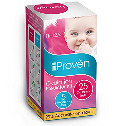 iProven Ovulation Predictor Kit - 25 LH Ovulation Test Strips and 5 Early Response HCG Pregnancy Test Strips - Fertility Test for Women - for Trying to Conceive Couples - Ovulation Tests for Women
