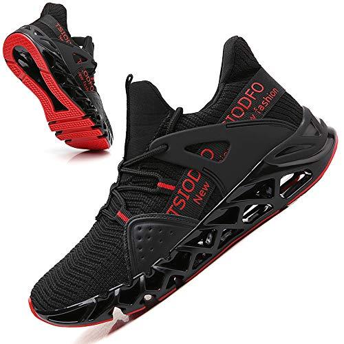 TSIODFO Tênis esportivo de corrida masculino e feminino tênis atlético para caminhada, 6099 Black Red, 11 Women/9.5 Men