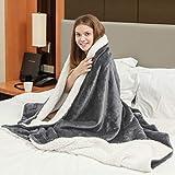 Viviland Flannel Fleece Sherpa Blanket Luxury Soft Warm Stripe 2 Layer Bed Blankets