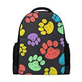 FANTAZIO Mochila colorida para perro y gato, huellas de pies, mochila escolar
