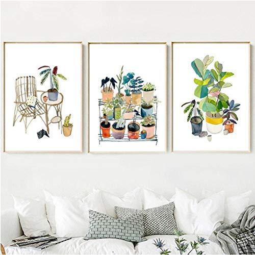 Rjunjie cartoon aquarel bloem potplanten muurkunst canvas schilderij Nordic poster en afdrukken wandafbeeldingen voor de woonkamer decoratie 40x50x3 stuks cm geen lijst