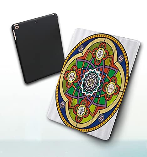 Funda para iPad 9,7 Pulgadas, 2018/2017 Modelo, 6ª / 5ª generación,Mandala Clásico Vintage Indio Patrón Floral Bohemio Smart Leather Stand Cover with Auto Wake/Sleep