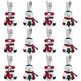 Gudotra 12pcs Pochettes Porte-Couverts de Noël Décoration de Table pour Fête Cadeaux de Noël (Bonhommes de Neige)