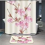 Baisheng Waterproof Mold Proof Resistant Bad Vorhang Waschbar Duschvorhang Polyester Stoff 3D Mehltau Beweis Vorhang mit Haken (Rosa Pfirsichblüte 1-39 * 70Inch/100 * 180cm)