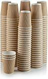 100 X 12oz Disposable Kraft Paper Cups for Hot and Cold Drinks, Triple Walled Ripple Cups for Coffee, Tea and Other Drinks Hot and Cold Disposable Tableware