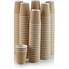 100 X 12oz Disposable Kraft Paper Cups for Hot and Cold Drinks, Triple Walled Ripple Cups for Coffee, Tea and Other…