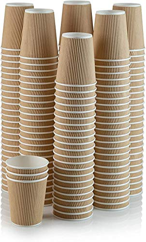 100 X 12oz Disposable Kraft Paper Cups for Hot and Cold Drinks, Triple...