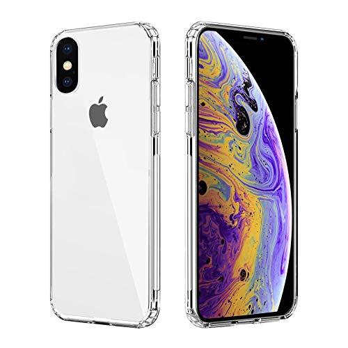 Seomusen Ultra Crystal Hülle Kompatibel mit iPhone XS und Kompatibel mit iPhone X (5.8 Zoll) [Anti Gelb] Transparent Weich TPU Bumper + PC Rückseite Handyhülle Stoßfest Silikon Schutzhülle-Clear