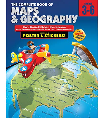 Carson Dellosa The Complete Book of Maps and Geography Workbook—Grades 3-6 Social Studies, State, Regional, Global Geography and Map Skills Activities (352 pgs)