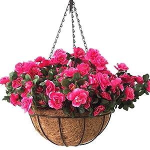 Silk Flower Arrangements Lopkey Outdoor Hanging Basket with Artificial Azalea Bush Flower for Patio Lawn Garden Balcony Corridor Decor,12 inch Orange
