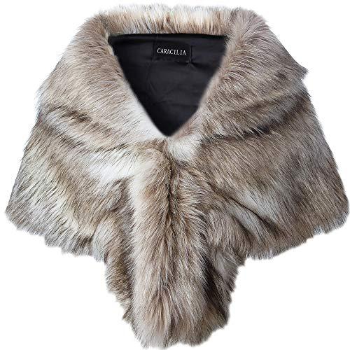 Caracilia Faux Fur Shawl Wrap Stole Shrug Winter Bridal Wedding Wrap FoxFur L CA95, Fox White / Brown