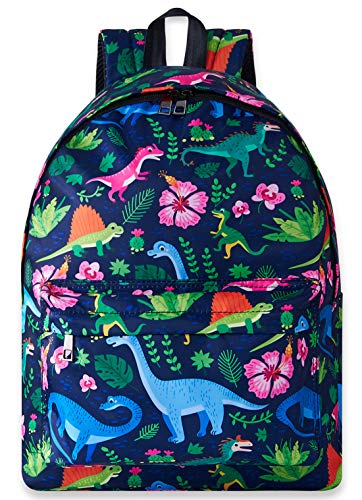 3D Trendy Designer Animal Theme Printed Backpack Blue Green Dinosaur Tropical Flowers Leaves Graphic Patterned Unique Stylish Individual Back Packs Pretty School Day Knapsack Bag For Boys Girls Kids