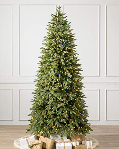 Balsam Hill 9ft Premium Prelit Artificial Christmas Tree Silverado Slim with Color + Clear LED Lights, Easy Plug, Storage Bag, and Fluffing Gloves