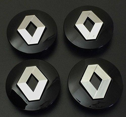 Renault-Logo, 4er-Set, schwarz, Chrom-Optik, 57mm groß, aus Legierung, Rad-Plakette, Rad-Innenelement-Kappe