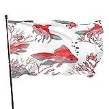 QQIAEJIA Bandera de jardín de peces de acuario, 3 x 5 pies, acuarela, pez ángel, peces de acuario, coral marino, océano, decoración al aire libre, porche, jardín, bandera, con ojales