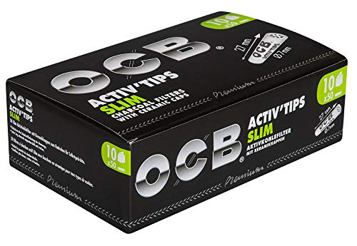 OCB Activ'Tips Lot de 500 filtres à charbon actif slim avec capuchons en céramique
